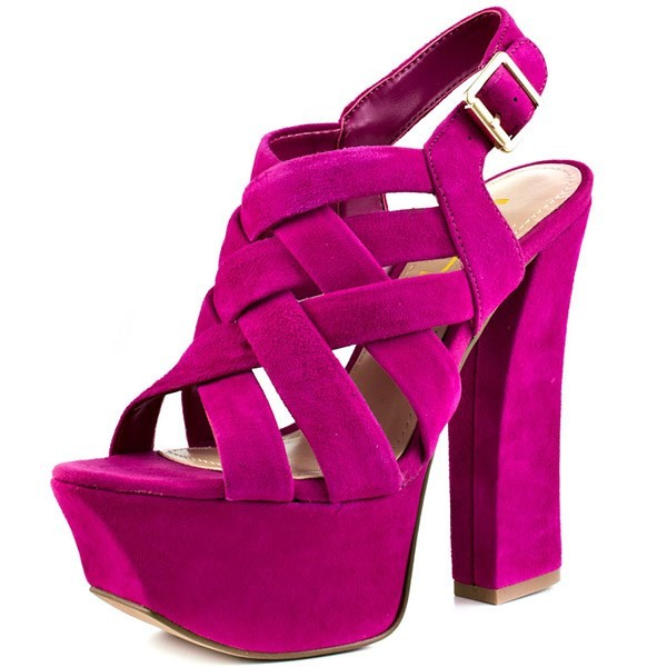 Hot Pink Slingback Heels Suede Platform Chunky Heel Sexy Shoes image 1