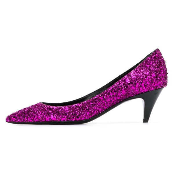 Orchid Pointed Toe Glitter Shoes Cone Heels Low-cut Upper Pumps image 2