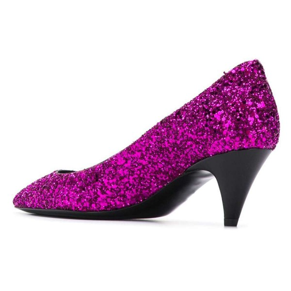 Orchid Pointed Toe Glitter Shoes Cone Heels Low-cut Upper Pumps image 3