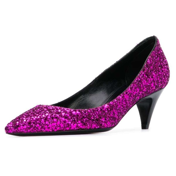 Orchid Pointed Toe Glitter Shoes Cone Heels Low-cut Upper Pumps image 1
