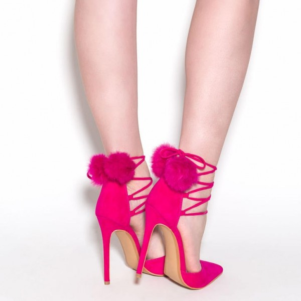 Hot Pink Pom Pom Heels Strappy Closed Toe Pumps image 2