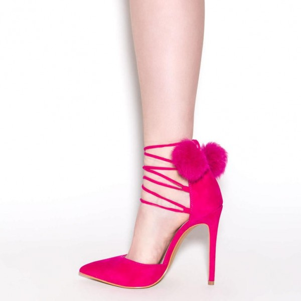 Hot Pink Pom Pom Heels Strappy Closed Toe Pumps image 3