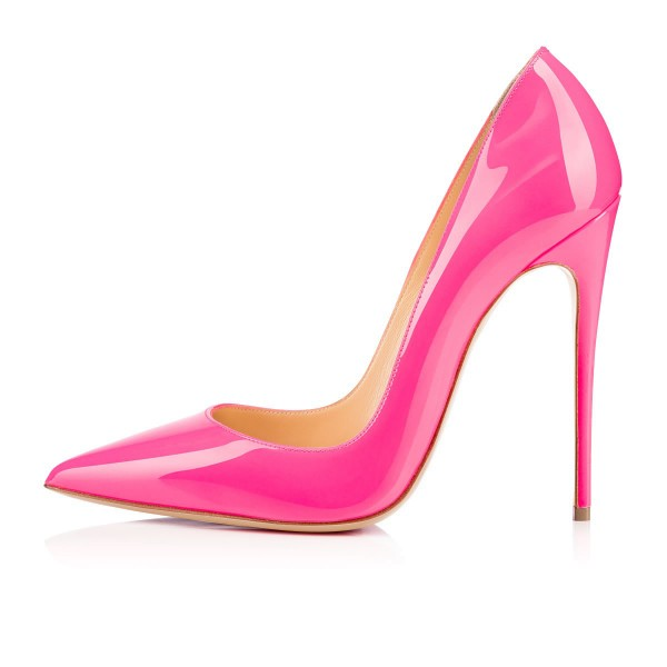 Hot Pink Patent Leather Pointy Toe Stiletto Heel Pumps image 3