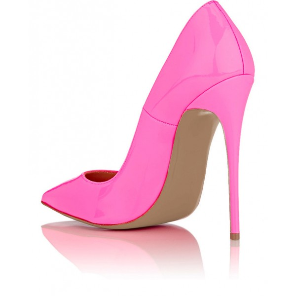 Hot Pink Patent Leather Pointy Toe Stiletto Heel Pumps image 2