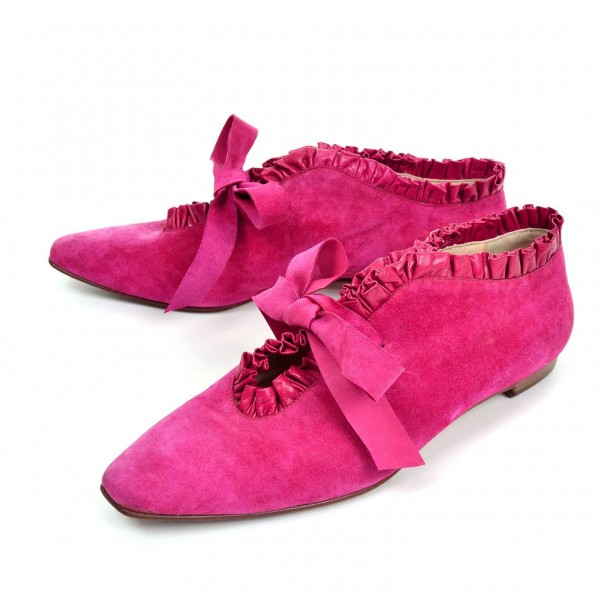Pink Suede Bow Pointy Toe Flats Comfortable Lace Up Shoes image 1