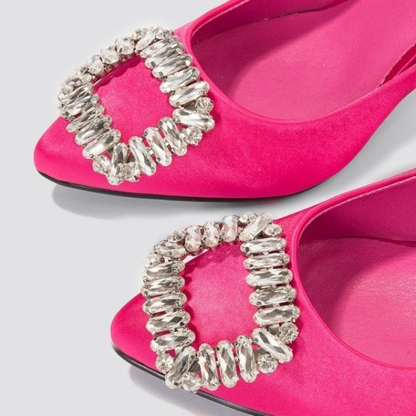 Hot Pink Satin Crystal Embellished Stiletto Heels Pumps image 3