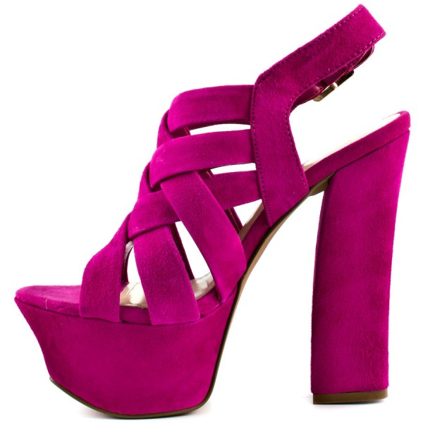 Hot Pink Slingback Heels Suede Platform Chunky Heel Sexy Shoes image 3