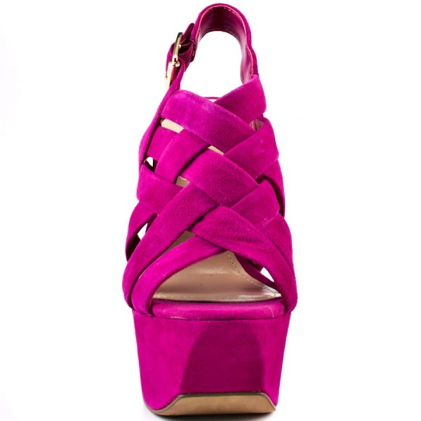 Hot Pink Slingback Heels Suede Platform Chunky Heel Sexy Shoes image 5