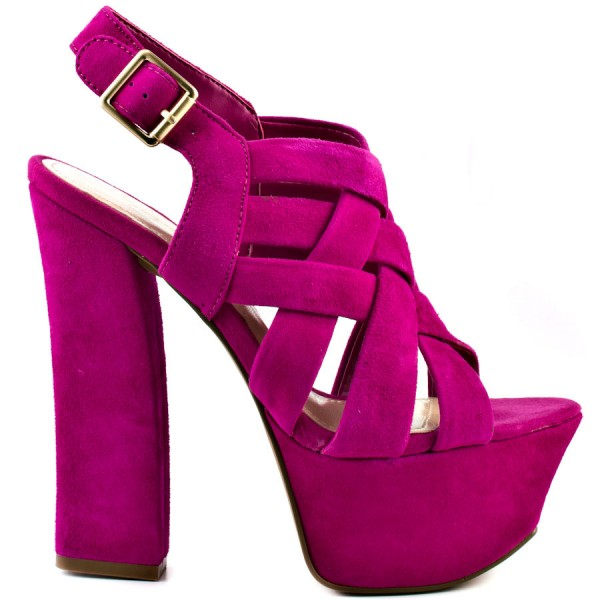 Hot Pink Slingback Heels Suede Platform Chunky Heel Sexy Shoes image 4