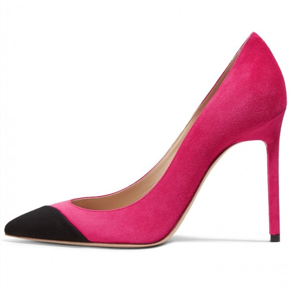 Fuchsia Suede Pointy Toe Stiletto Heels Pumps Office Shoes image 1