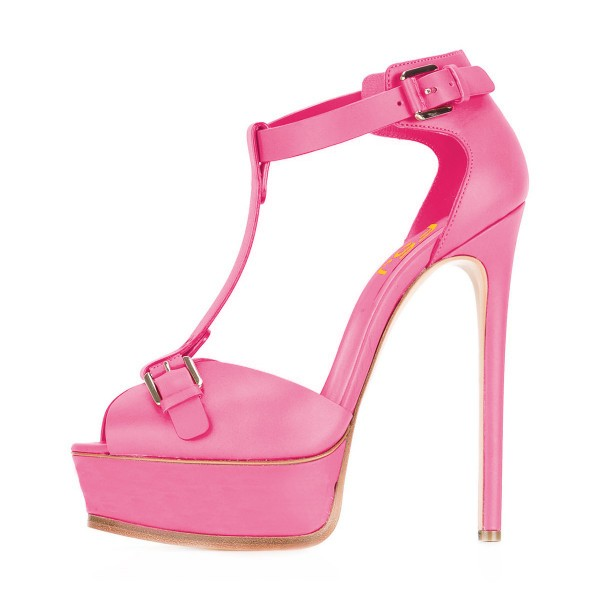 Hot Pink T Strap Sandals Peep Toe Stiletto Heels Platform Sandals image 4