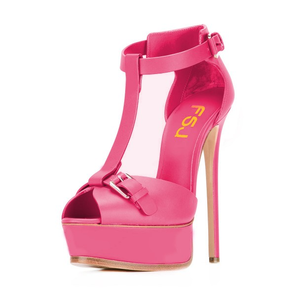 Hot Pink T Strap Sandals Peep Toe Stiletto Heels Platform Sandals image 1