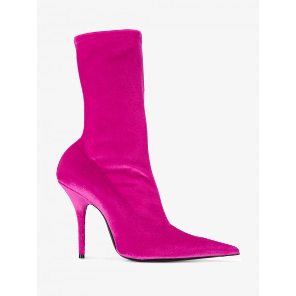 Hot Pink Stiletto Boots Sexy Pointy Toe Mid Calf Velvet Shoes image 3