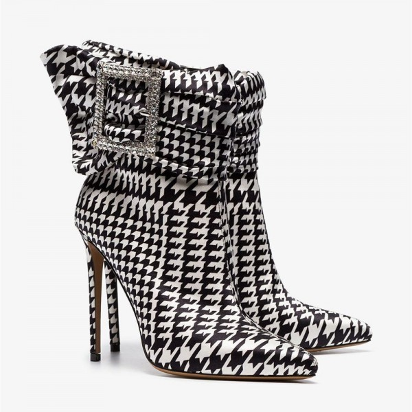 Rhinestone Buckles Boots Pointy Toe Houndstooth Ankle Booties image 3