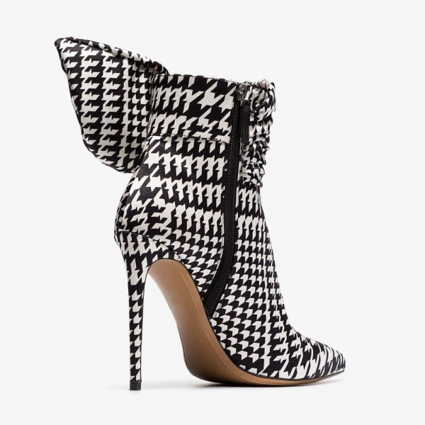 Rhinestone Buckles Boots Pointy Toe Houndstooth Ankle Booties image 4