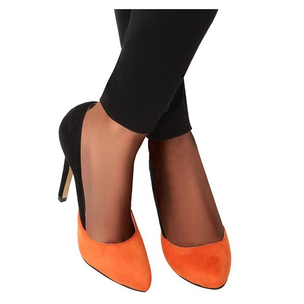 Orange and Black Stiletto Heels Office Heels Suede Pointy Toe Pumps image 4
