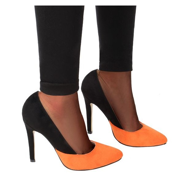 Orange and Black Stiletto Heels Office Heels Suede Pointy Toe Pumps image 3