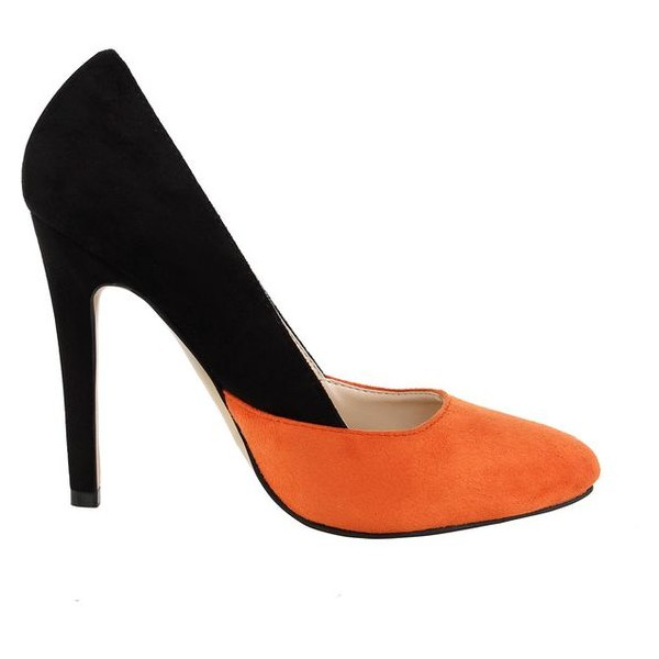 Orange and Black Stiletto Heels Office Heels Suede Pointy Toe Pumps image 2
