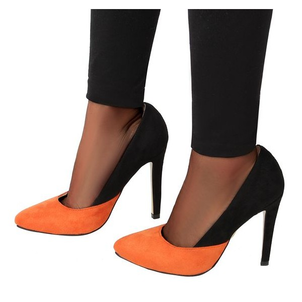 Orange and Black Stiletto Heels Office Heels Suede Pointy Toe Pumps image 1
