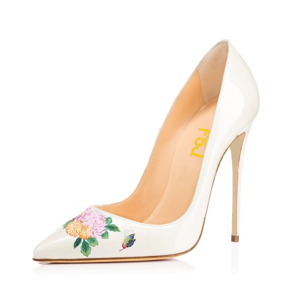 Women's White Pointy Toe Butterfly Floral Office Heels Pumps image 1