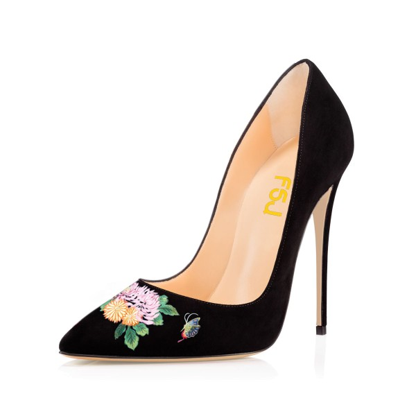 Women's Pointy Toe Black Suede Butterfly Floral Office Heels Pumps image 1