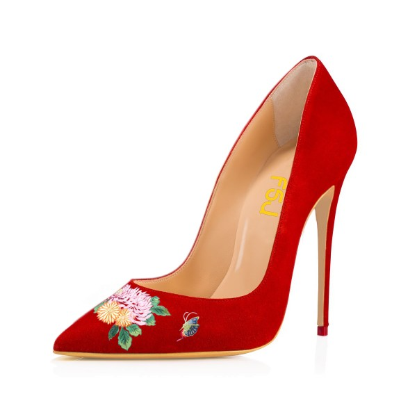 Women's Pointy Toe Red Suede Butterfly Floral Office Heels Pumps image 1