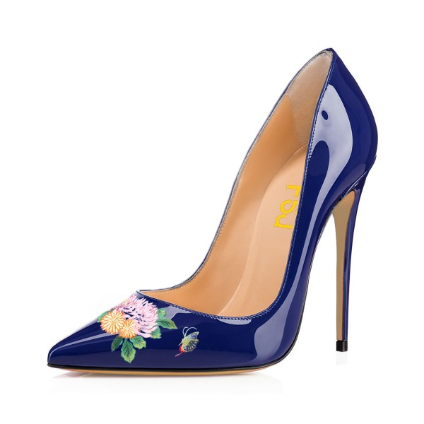 Women's Navy Pointy Toe Butterfly Floral Office Heels Pumps image 1