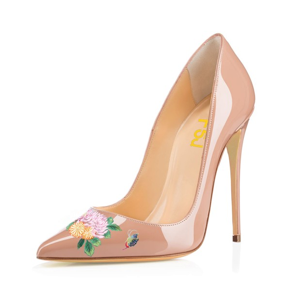 Women's Nude Pointy Toe Butterfly Floral Office Heels Pumps image 1