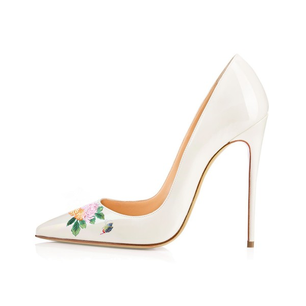 Women's White Pointy Toe Butterfly Floral Office Heels Pumps image 2