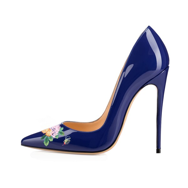 Women's Navy Pointy Toe Butterfly Floral Office Heels Pumps image 2