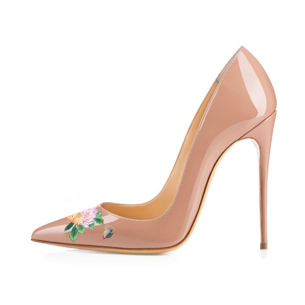 Women's Nude Pointy Toe Butterfly Floral Office Heels Pumps image 2