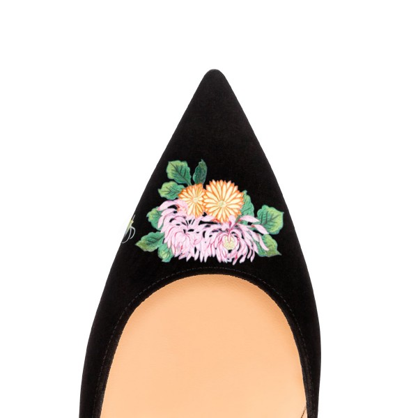 Women's Pointy Toe Black Suede Butterfly Floral Office Heels Pumps image 3