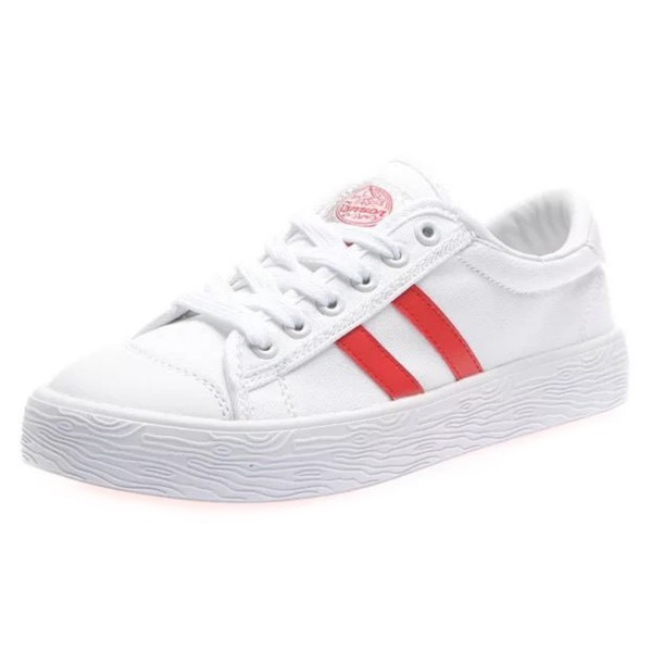 Hui Li White and Red Canvas Lace Up