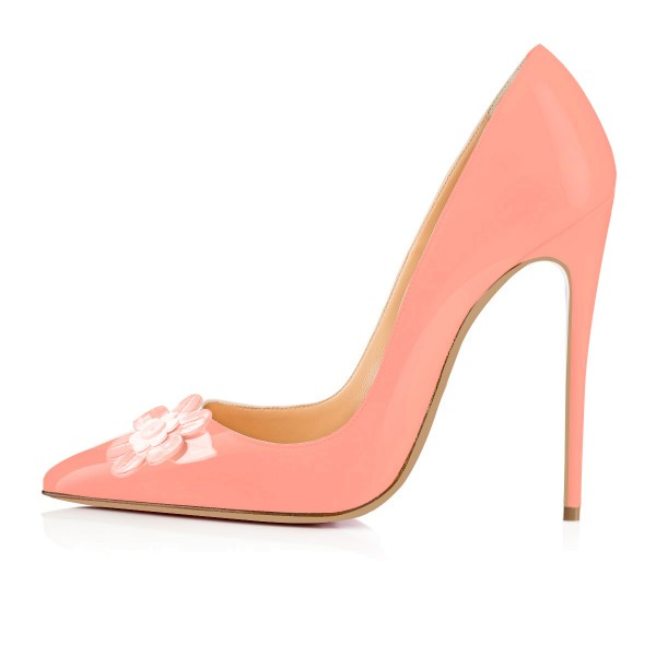 FSJ Pink Dress Shoes Stiletto Heels Floral Pointy Toe Pumps for Female image 3