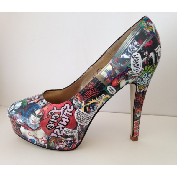 Women's Harley Quinn Floral Comic Platform Stiletto Heels Pumps for Halloween image 4