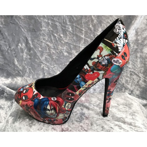 Women's Harley Quinn Comic Floral Platform Stiletto Heels Pumps for Halloween image 2