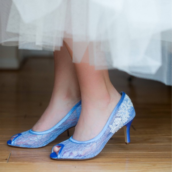 Blue Bridal Shoes Lace Heels Peep Toe Kitten Heel Pumps for Wedding image 1