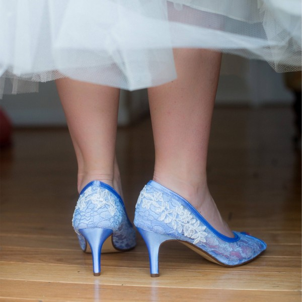 Blue Bridal Shoes Lace Heels Peep Toe Kitten Heel Pumps for Wedding image 2