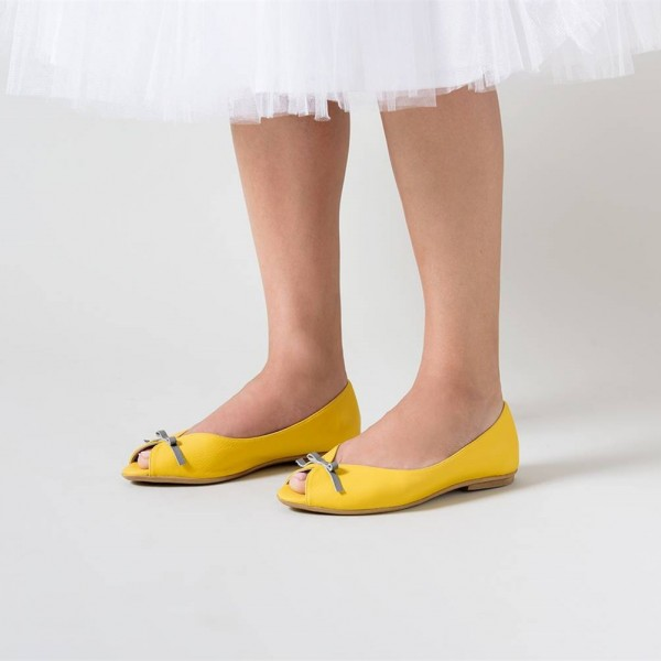 9e3ff77c222d60 ... Women s Lemon Yellow Peep Toe Comfortable Flats Cute Shoes image ...