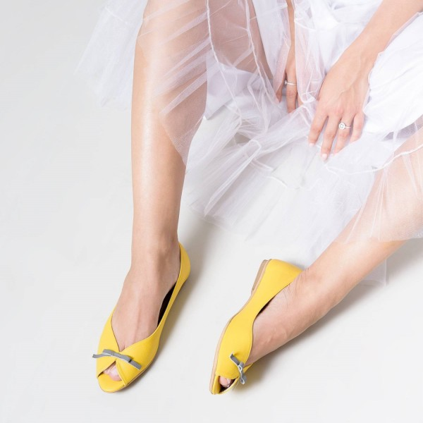 Women's Lemon Yellow Peep Toe  Comfortable Flats Cute Shoes image 3