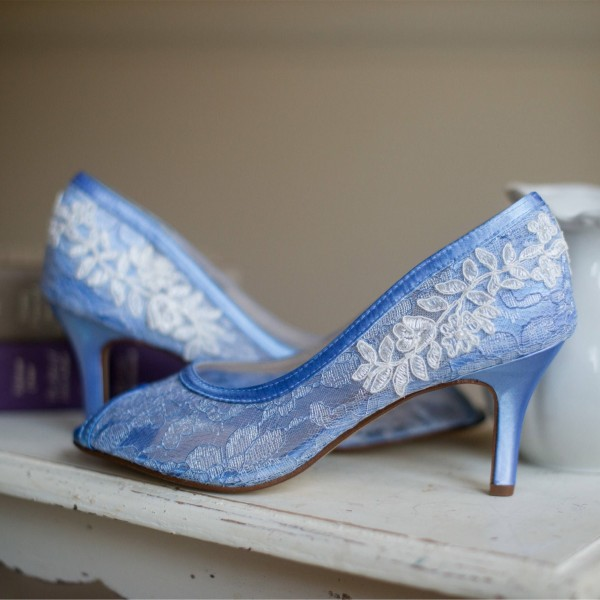 Blue Bridal Shoes Lace Heels Peep Toe Kitten Heel Pumps for Wedding image 3
