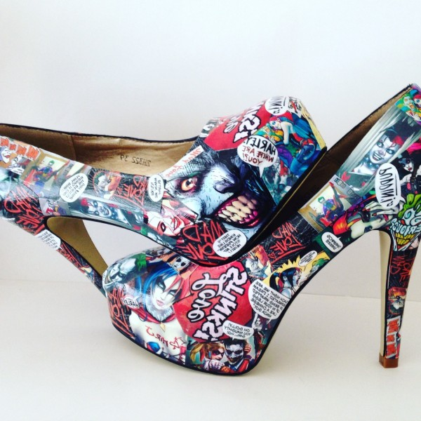Women's Harley Quinn Floral Comic Platform Stiletto Heels Pumps for Halloween image 1