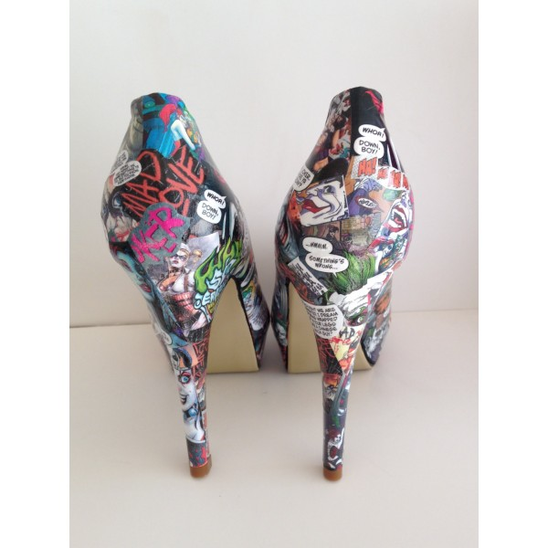 Women's Harley Quinn Floral Comic Platform Stiletto Heels Pumps for Halloween image 2