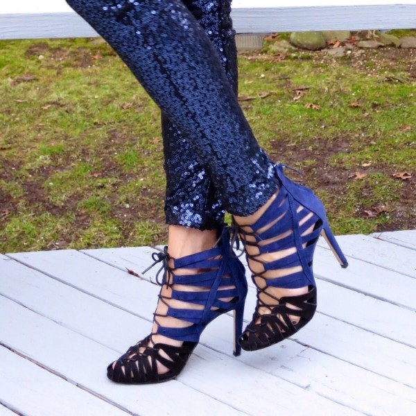 Blue and Dark Brown Lace up Sandals Suede Stiletto Heels for Women image 1
