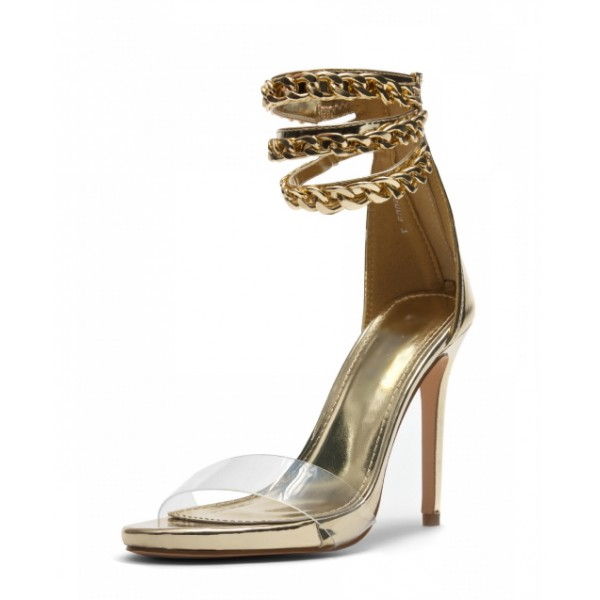 Silver Transparent Elegant Ankle Strap Platform Sandals for Daily Dress image 1