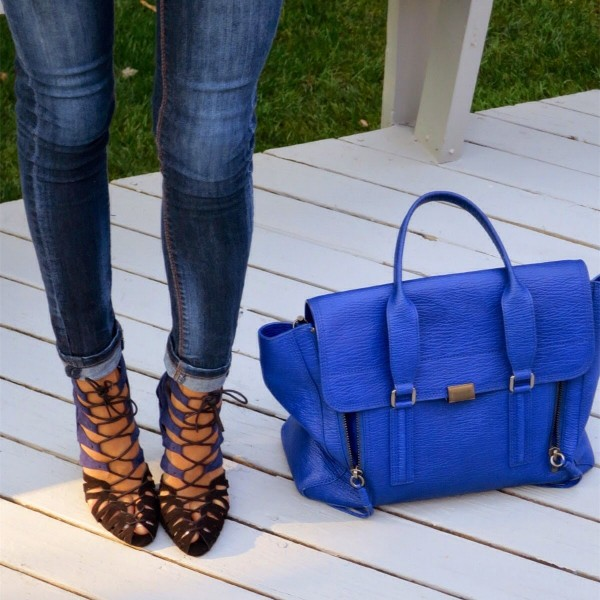 Blue and Dark Brown Lace up Sandals Suede Stiletto Heels for Women image 2