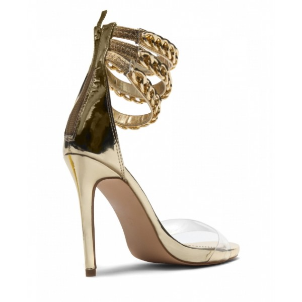 Silver Transparent Elegant Ankle Strap Platform Sandals for Daily Dress image 2
