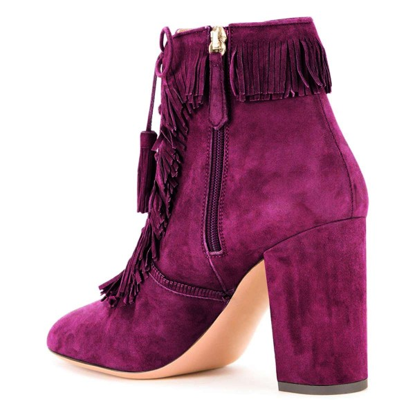 Purple Suede Chunky Heel Lace Up Tassel Fringe Boots image 3