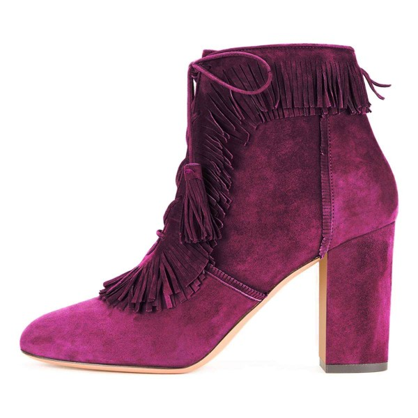Purple Suede Chunky Heel Lace Up Tassel Fringe Boots image 2