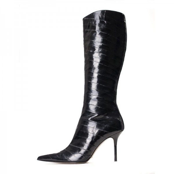 Cat Women Black Stiletto Heels Pointy Toe Knee-high Boots for Halloween image 1